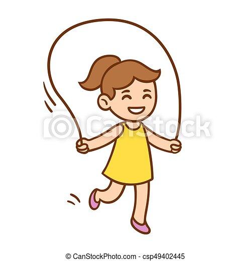 cartoon girl jumping rope vector illustration of cute cartoon