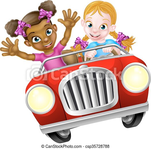 cartoon girl kids driving car two cartoon girls having fun rh canstockphoto com driving clipart images clipart driving lesson