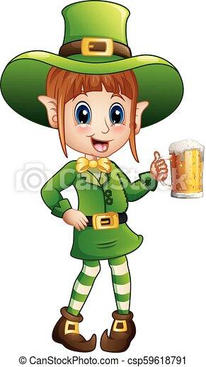 Cartoon girl leprechaun holding a glass of beer