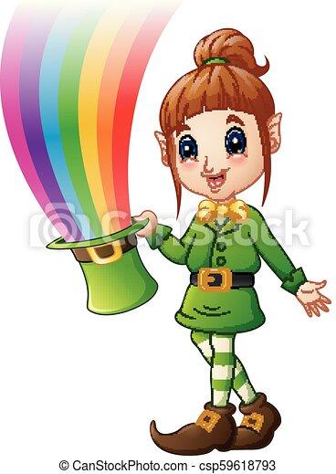 Cartoon girl Leprechaun holding hat with magic rainbow