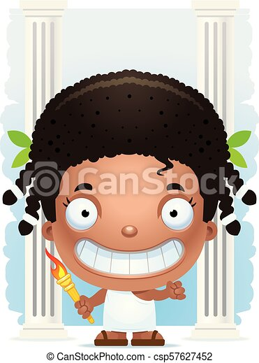Cartoon Girl Olympian Smiling - csp57627452