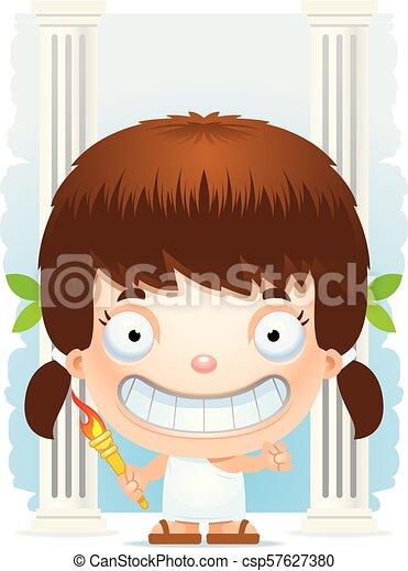 Cartoon Girl Olympian Smiling - csp57627380