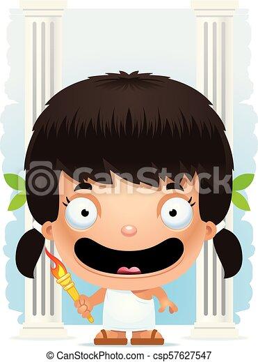 Cartoon Girl Olympian Smiling - csp57627547