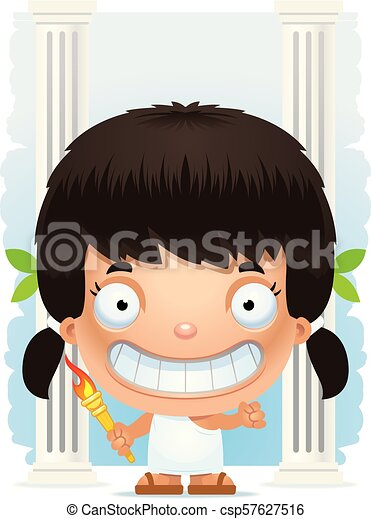 Cartoon Girl Olympian Smiling - csp57627516