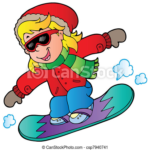 cartoon girl on snowboard vector illustration vector clip art rh canstockphoto com ski snowboard clipart snowboard clip art images