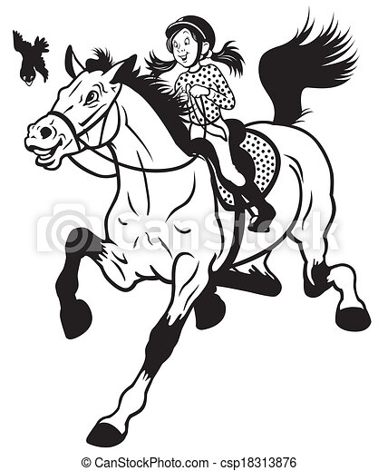 cartoon girl riding horse  - csp18313876