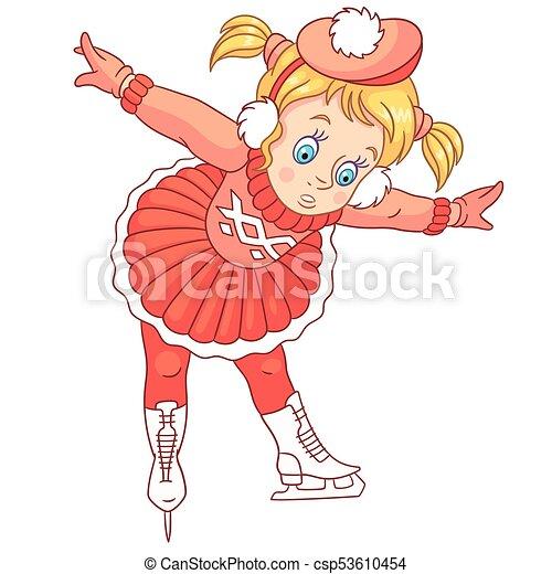 cartoon girl skating - csp53610454