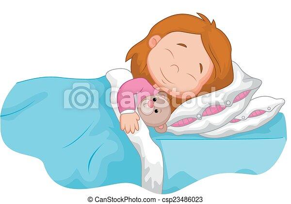 Cartoon girl sleeping with stuffed - csp23486023