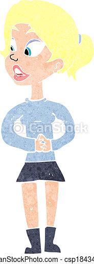 cartoon girl talking - csp18434888