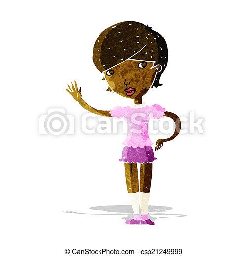 cartoon girl waving - csp21249999