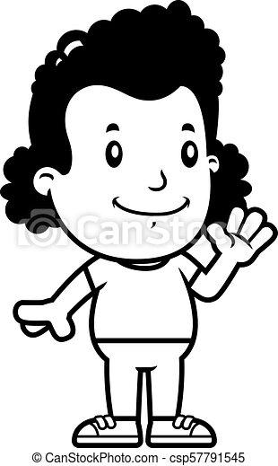Cartoon Girl Waving - csp57791545