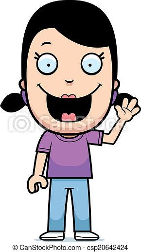 Cartoon Girl Waving - csp20642424