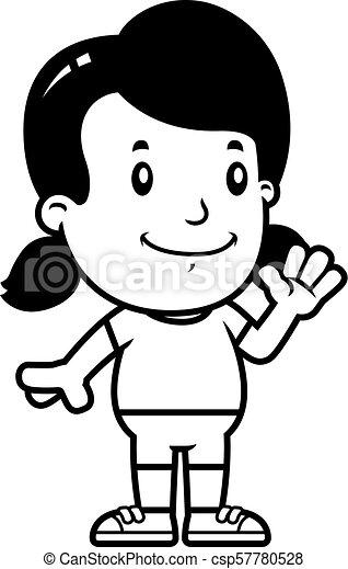 Cartoon Girl Waving - csp57780528