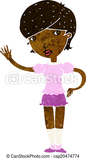 cartoon girl waving - csp20474774
