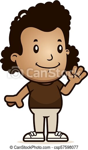 Cartoon Girl Waving - csp57598077