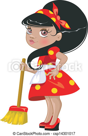 Cartoon girl with a broom - csp14301017