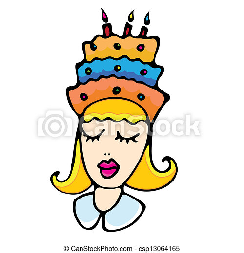 Cartoon girl with cake - csp13064165
