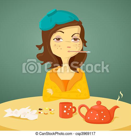 Cartoon girl with illness - csp3969117