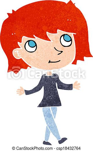 cartoon girl with no worries - csp18432764