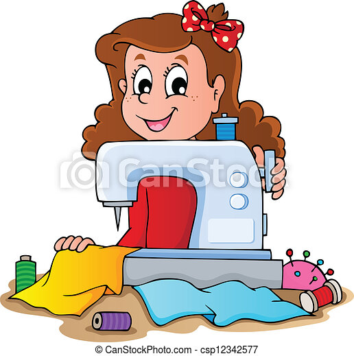 Cartoon girl with sewing machine - csp12342577