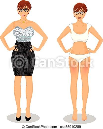 563b53f778 cartoon girl with short brown hair in black dress and white bikini -  csp55910289