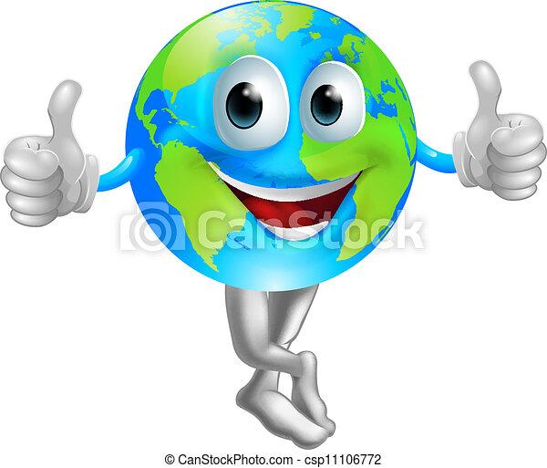 Cartoon globe mascot man - csp11106772