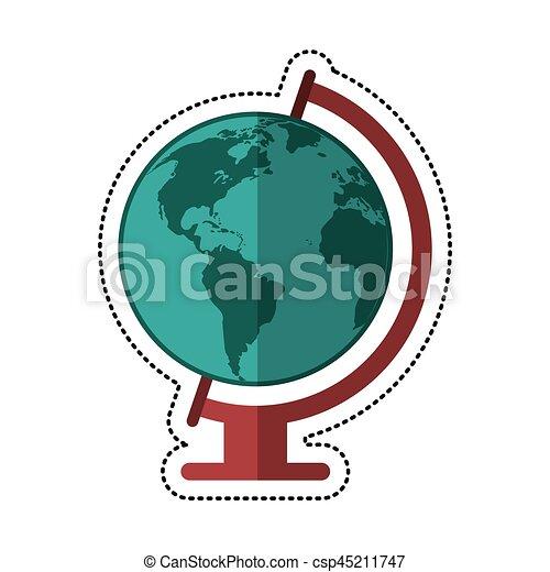 cartoon globe world map icon
