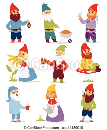 Christmas Gnome Drawing.Cartoon Gnome Characters Vector Illustration
