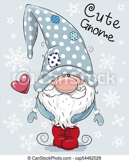 Christmas Gnomes Clipart.Cartoon Gnome On A Blue Background