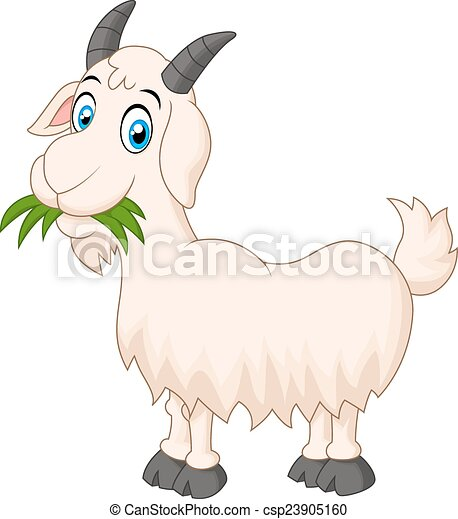 vector illustration of cartoon goat eating grass rh canstockphoto com cartoon goat images cartoon goat images