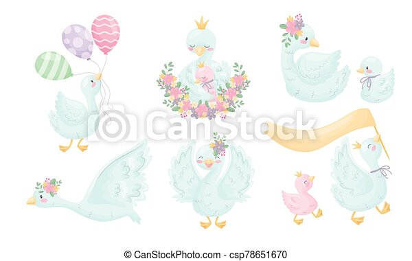Cartoon Goose Character With Golden Crown Holding Balloons And Sitting With Its Gosling Vector Set Funny Feathered Bird Canstock Printable gothel holding crown coloring page. can stock photo