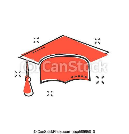 Cartoon graduation cap icon in comic style. Finish education sign illustration pictogram. Education business concept. - csp58965010