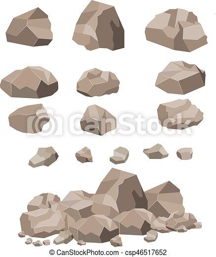 cartoon., grande, pedra, jogo, rocha - csp46517652