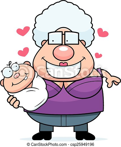 Cartoon Grandma Loving A Baby A Cartoon Illustration Of A