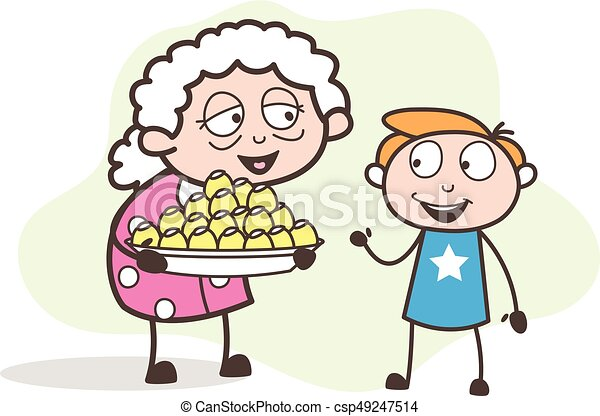 cartoon granny presenting easter sweets to her grandson vector rh canstockphoto com Grandma Happy Birhtday happy birthday grandma clipart