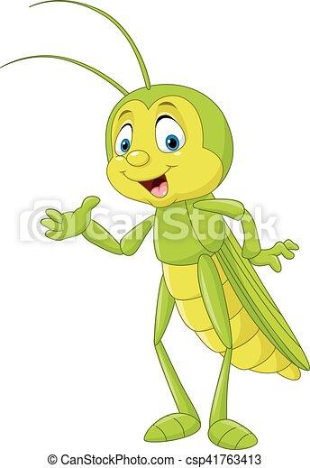 Cartoon grasshopper presenting - csp41763413