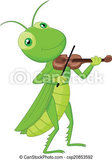 Cartoon Grasshopper with a Violin  - csp20853592