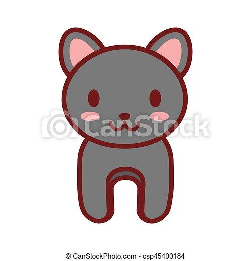 cartoon gray cat animal image - csp45400184