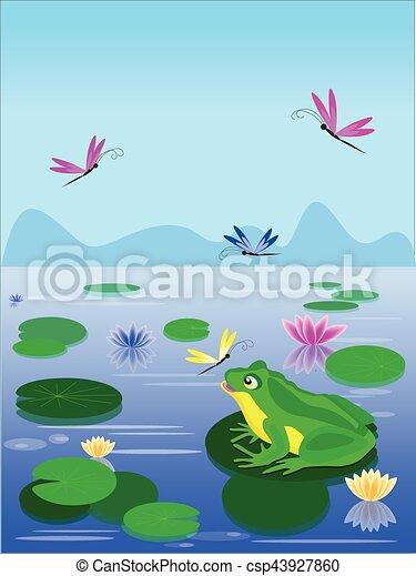 Cartoon green frog sitting on a lily leaf - csp43927860