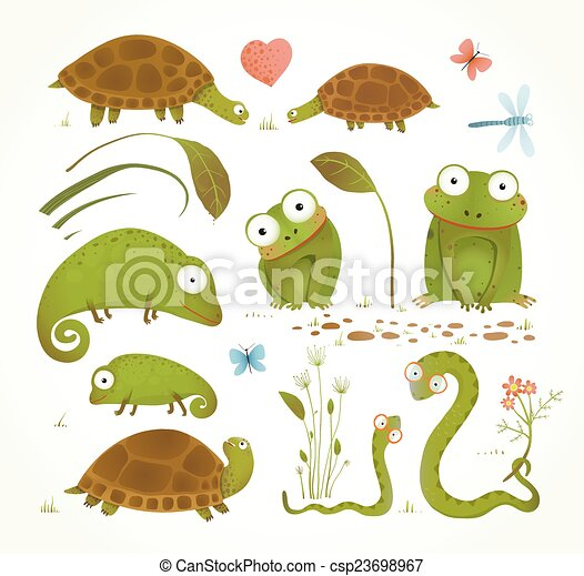 Cartoon Green Reptile Animals Childish Drawing Collection - csp23698967