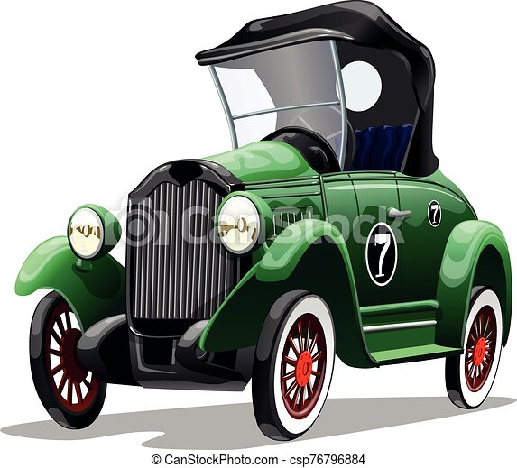 Cartoon green retro car isolated on white background. Vector illustration. - csp76796884