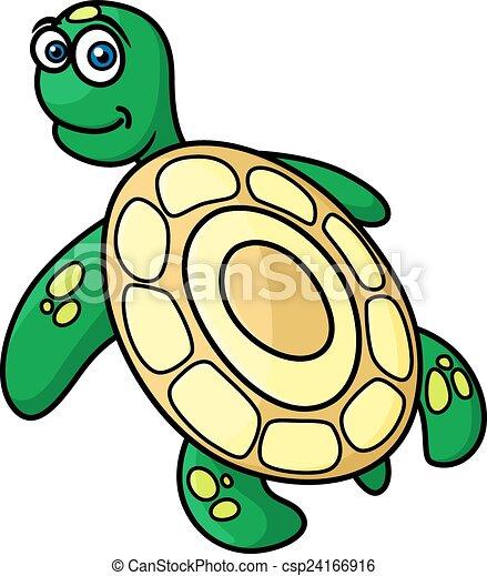 Cartoon Green Sea Turtle Character Cute Green Sea Turtle With