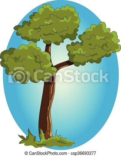 Cartoon green tree on blue background.  - csp36693377