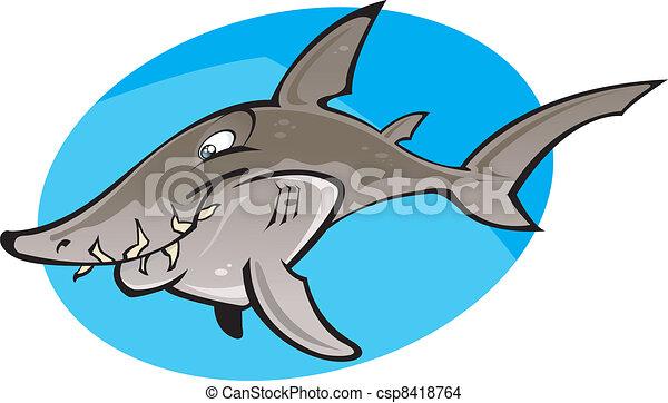 Cartoon Grey Nurse Shark - csp8418764