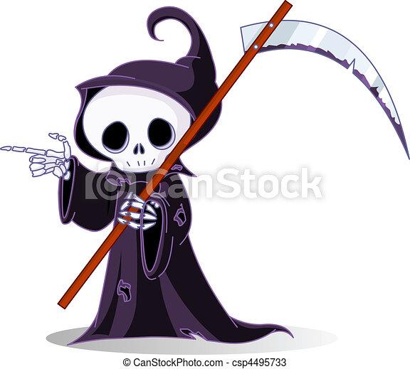 Cartoon grim reaper pointing - csp4495733