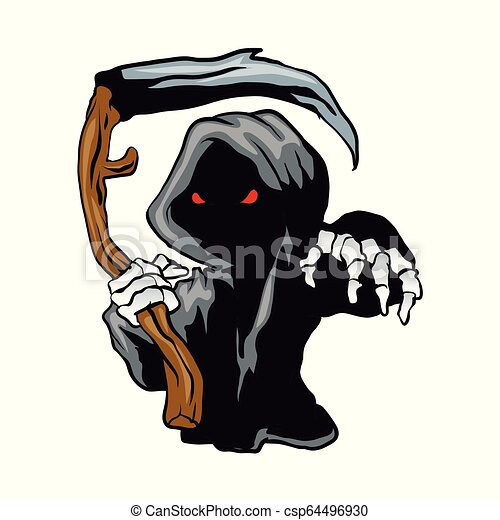 cartoon Grim Reaper with red eyes holding a scythe. - csp64496930