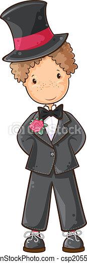 Cartoon groom. Cartoon illustration of boy in wedding suit.