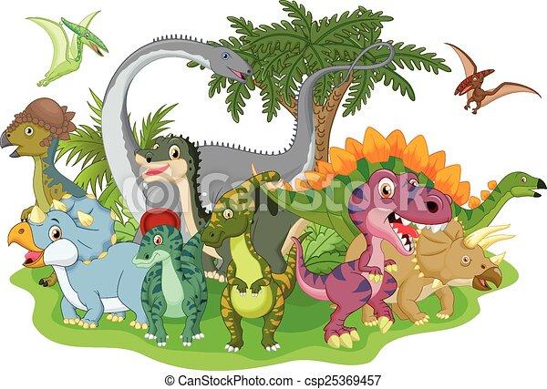 Cartoon group dinosaur  - csp25369457