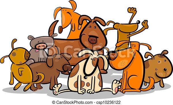 Cartoon Group of Cute Dogs - csp10236122