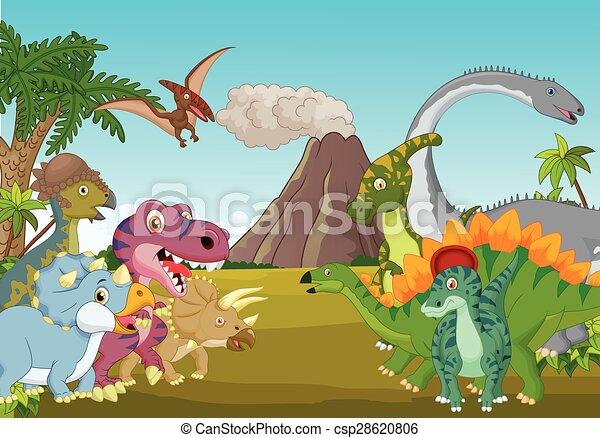 Cartoon group of dinosaur with moun - csp28620806